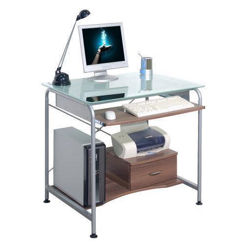 Scrivania Pc In Vetro.Scrivania Per Computer Compact Pro Salvaspazio Per Il Tuo Pc In Vetro E Legno Color Noce