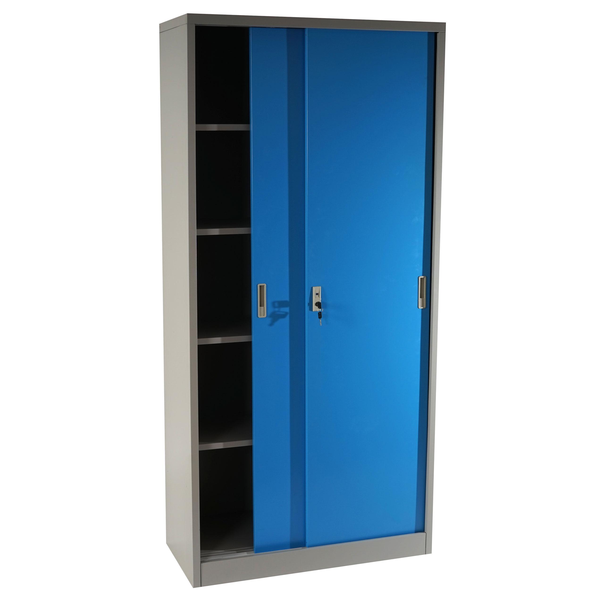 Armadio Metallo Due Ante Scorrevoli.Armadio Metallico Olsen Ante Scorrevoli Cm 180x85x40 In Acciaio Colore Blu