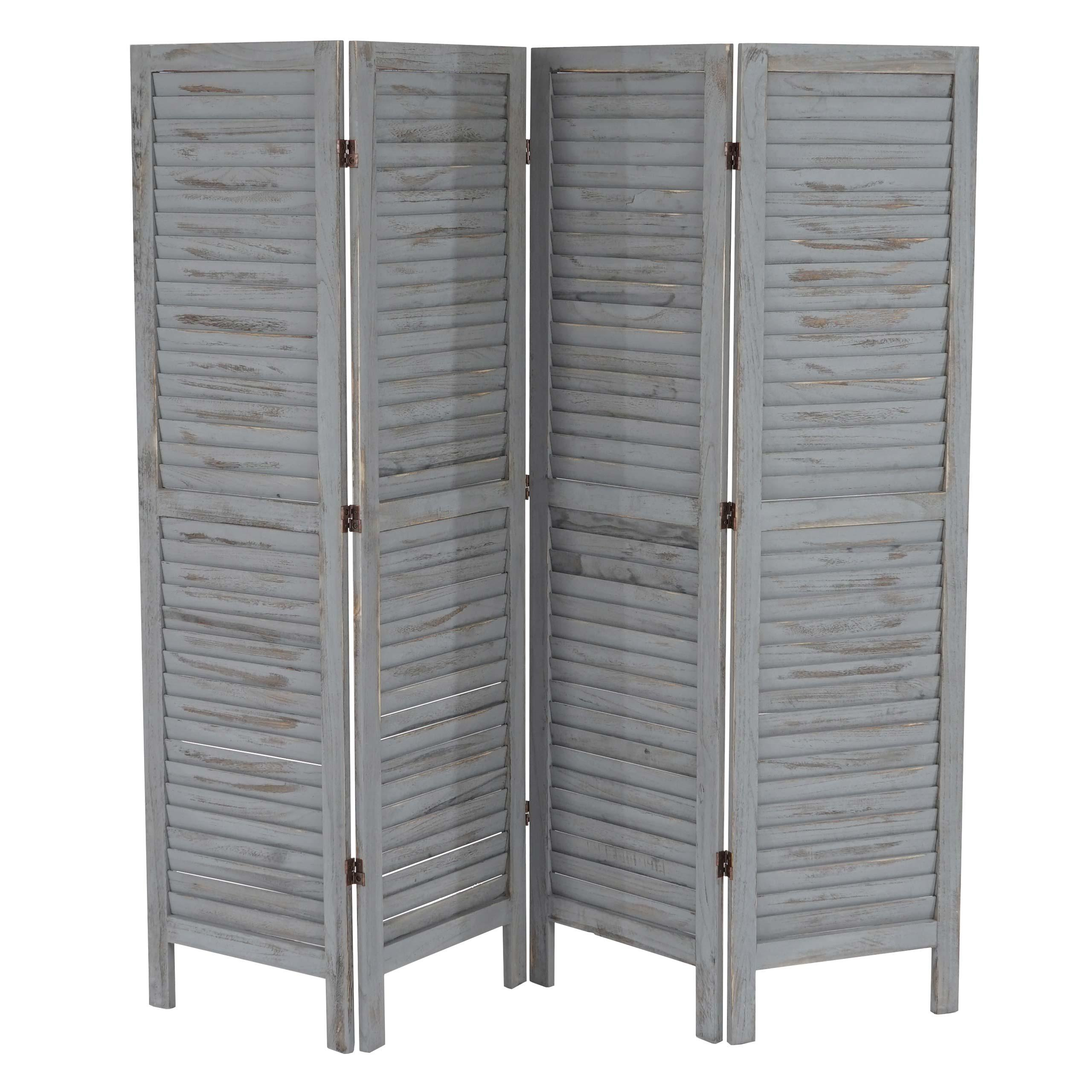 paravento a 4 pannelli leo cm 170x182x2 stile shabby chic in legno grigio paravento in legno. Black Bedroom Furniture Sets. Home Design Ideas