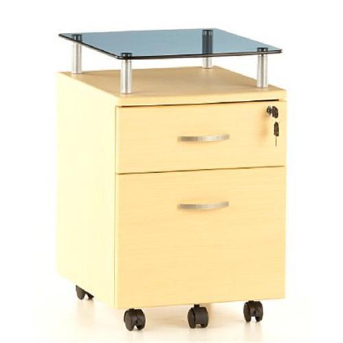 Cassettiera Con Chiave Per Ufficio.Cassettiera Con Ruote Ekon Plus Ripiano In Vetro Alta Qualita Color Acero
