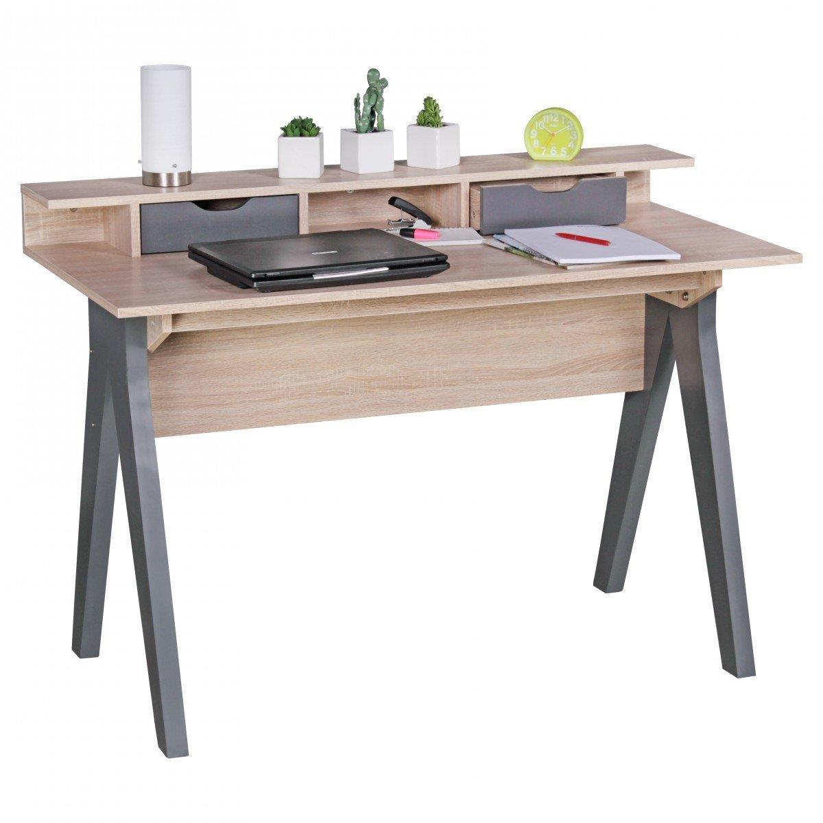 Scrivania per computer mila superficie in legno cm - Scrivanie legno design ...