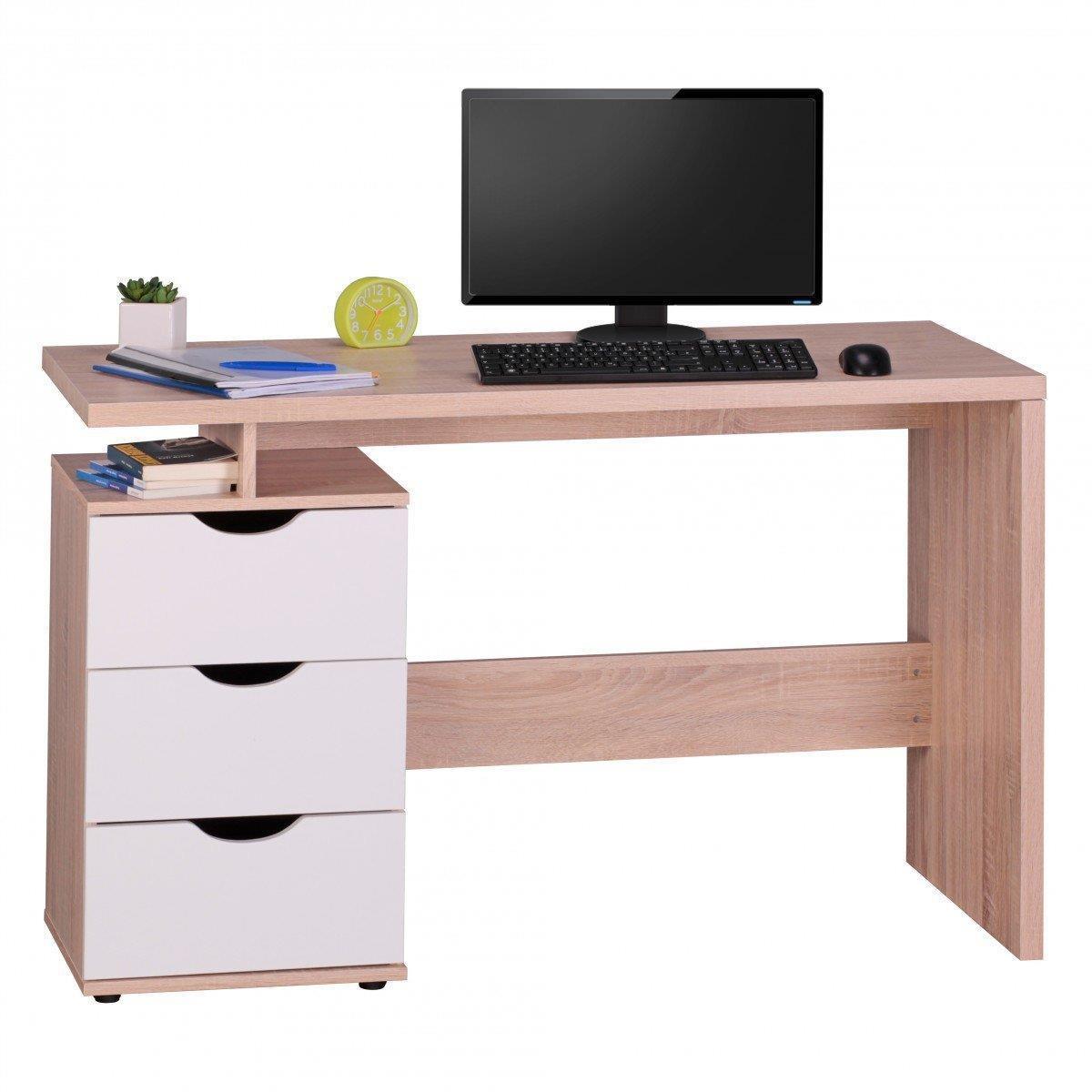 Scrivania per computer natalie in legno con cassetti cm for Misure scrivania