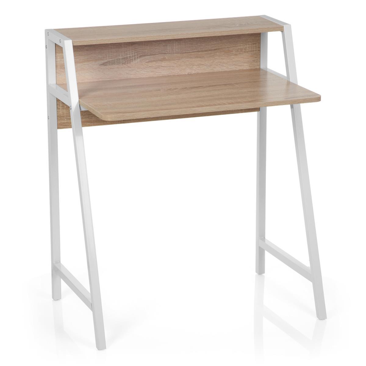 Scrivania per computer portatile amber 75x48x89 cm in metallo e legno color rovere scrivania - Mesas para ordenadores portatiles ...