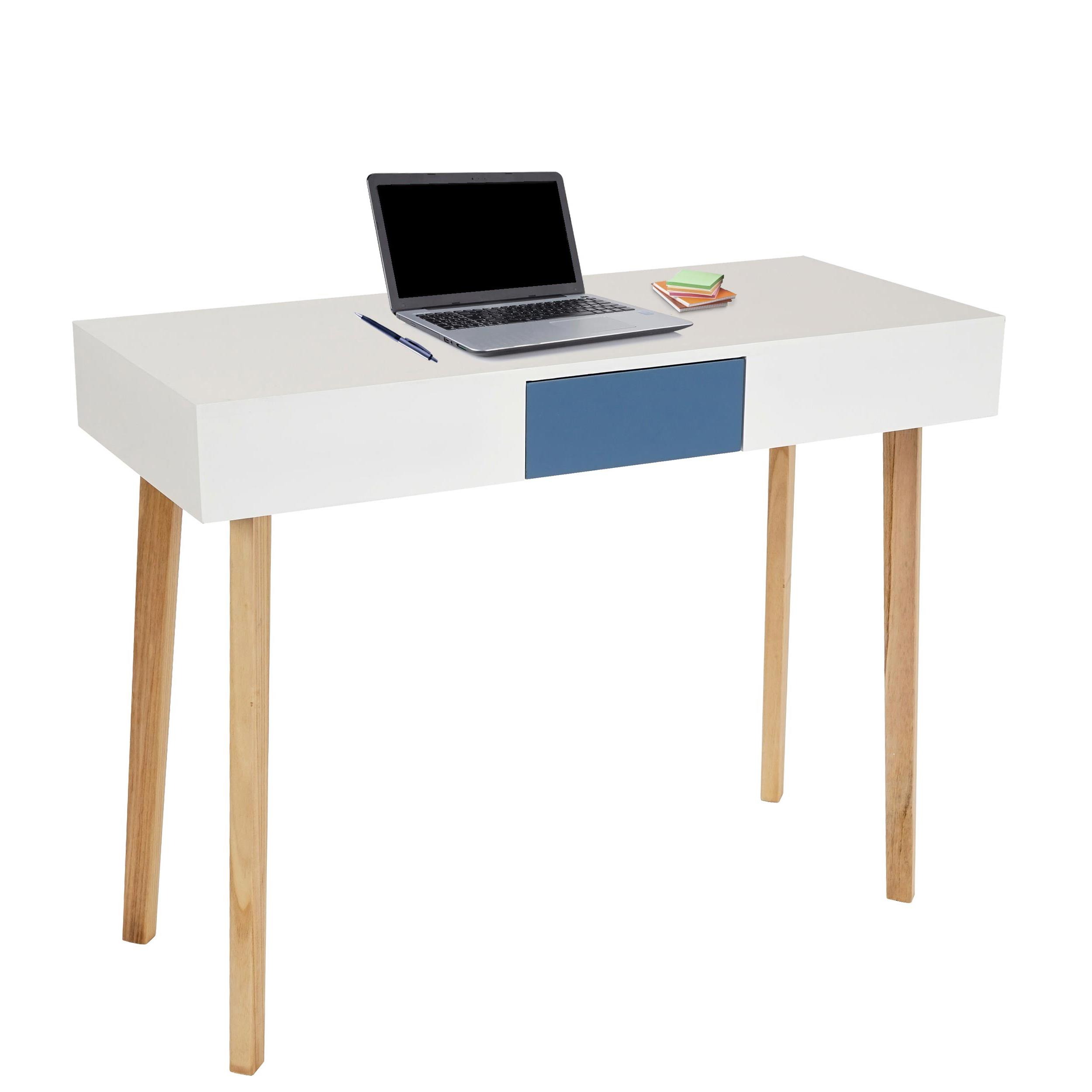tavolo per computer conel ripiano in legno bianco cm