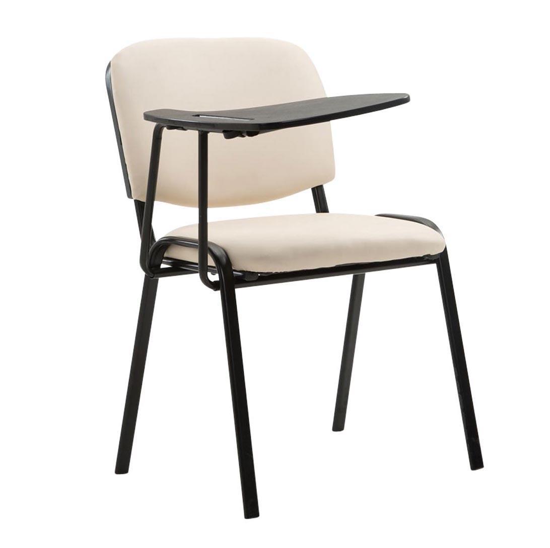 Sedia conferenze MOBY PELLE con SCRITTOIO, colore panna, gambe nere ...