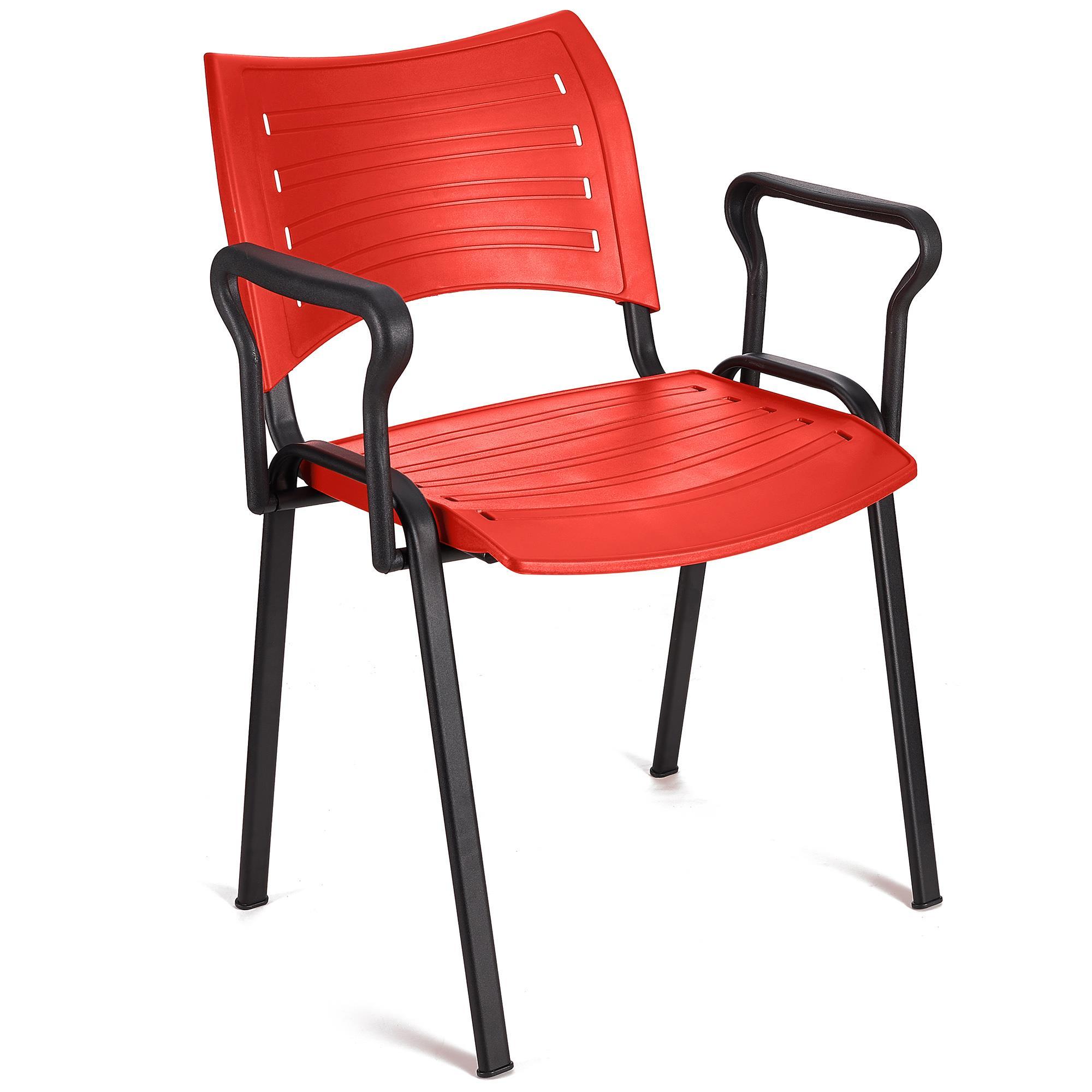 Sedia per Sala Attesa ELVA CON BRACCIOLI, in Rosso e Gambe ...