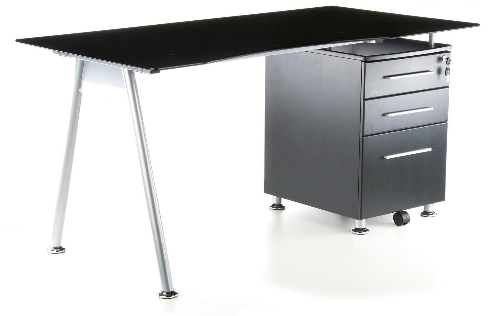 Cassettiera Ufficio In Metallo : Scrivania per computer nero in cristallo nero temperato con