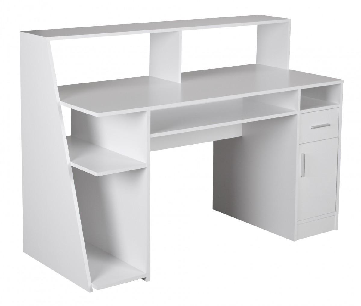 scrivania per computer virginia ampio spazio porta oggetti e vari ripiani bianco scrivania. Black Bedroom Furniture Sets. Home Design Ideas