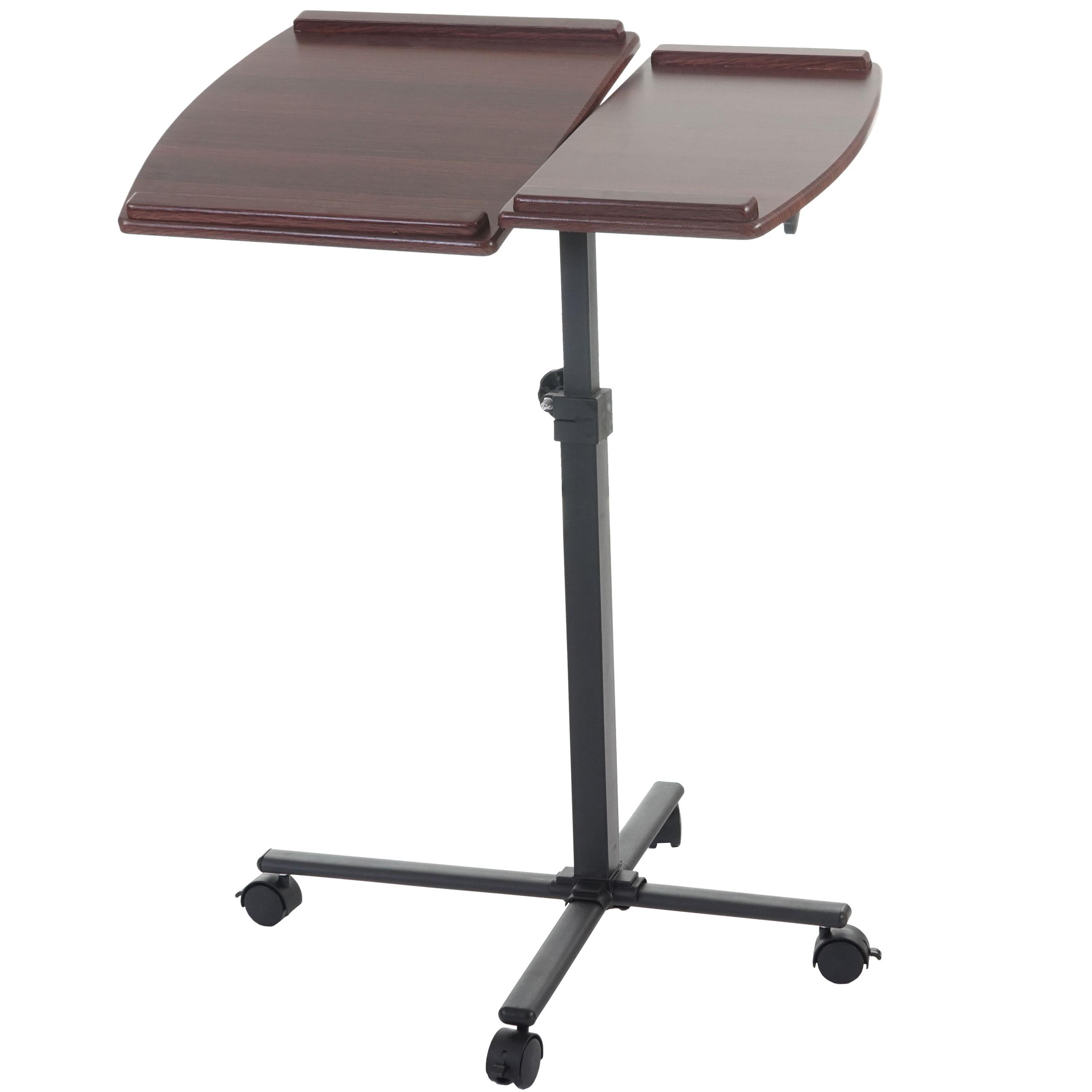 Tavolino leggio stand top altezza regolabile con ruote ripiano in legno color noce - Leggio da tavolo per studiare ...