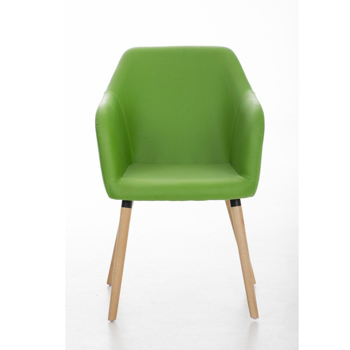 Sedia per Sala d'Attesa NIEBLA PELLE, Comoda imbottitura, Struttura e gambe in Legno, Seduta in Pelle, Verde