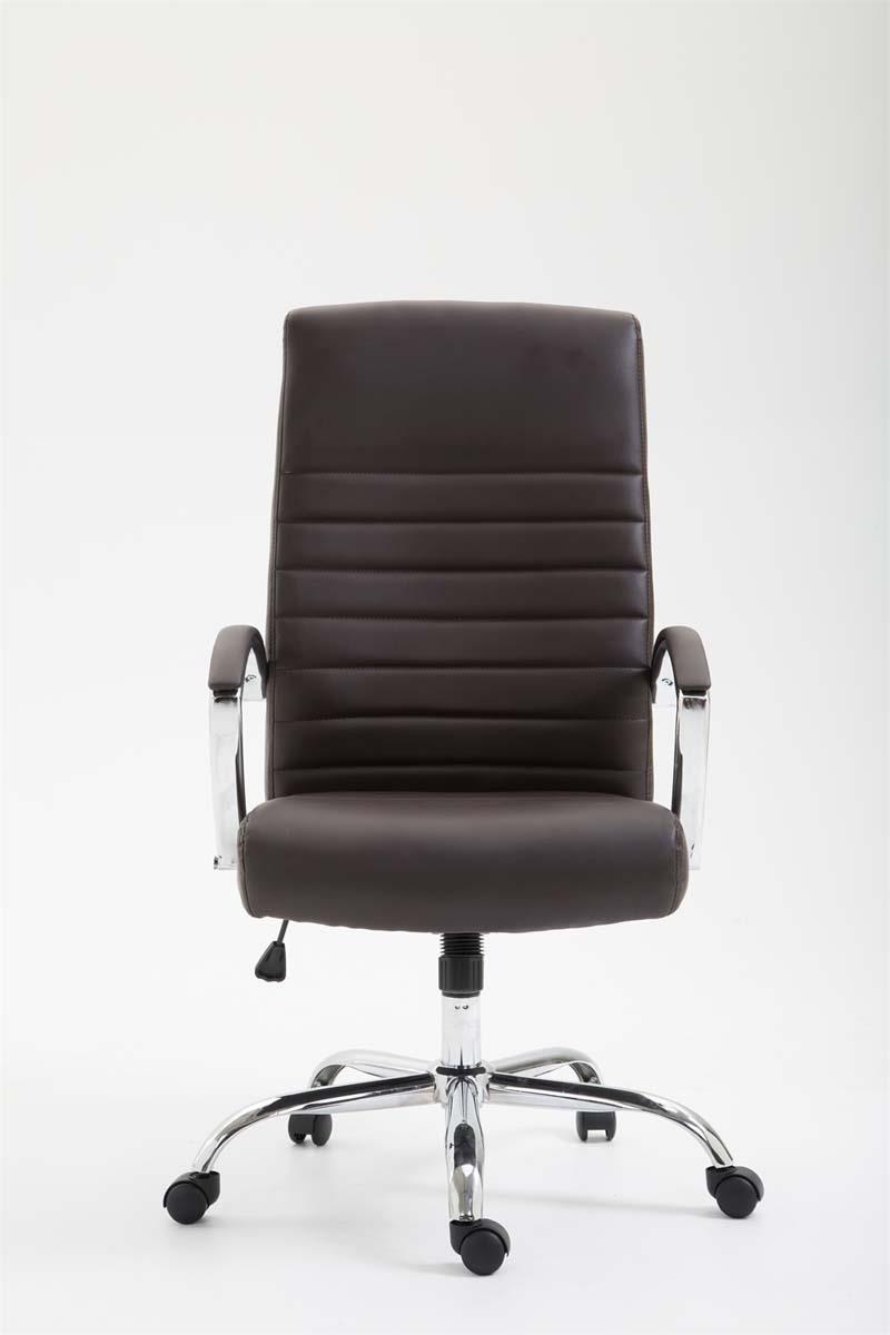 Sedia da ufficio vancouver in pelle color marrone for Sedia design marrone