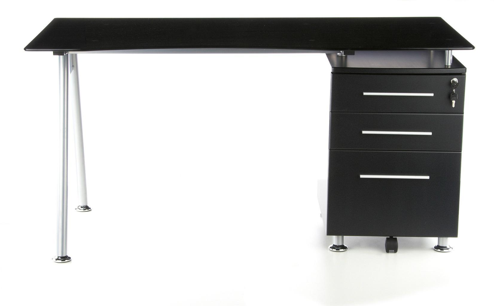 Scrivania Ufficio Cristallo : Scrivania per computer nero in cristallo nero temperato con