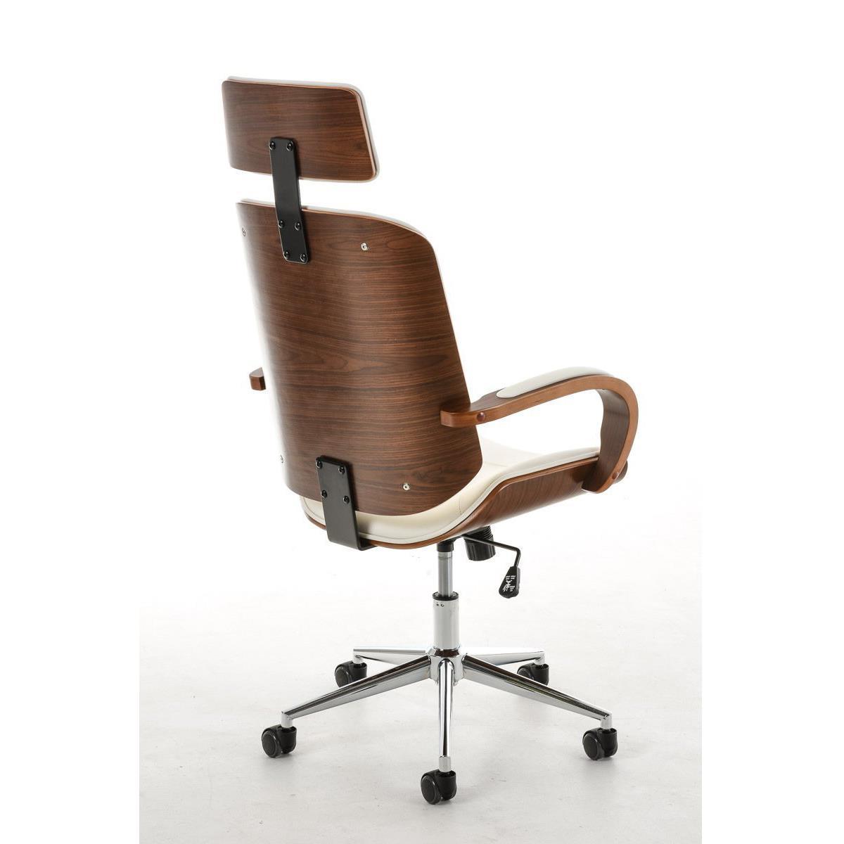 Sedia da ufficio JUTTA, design unico in legno e pelle ...