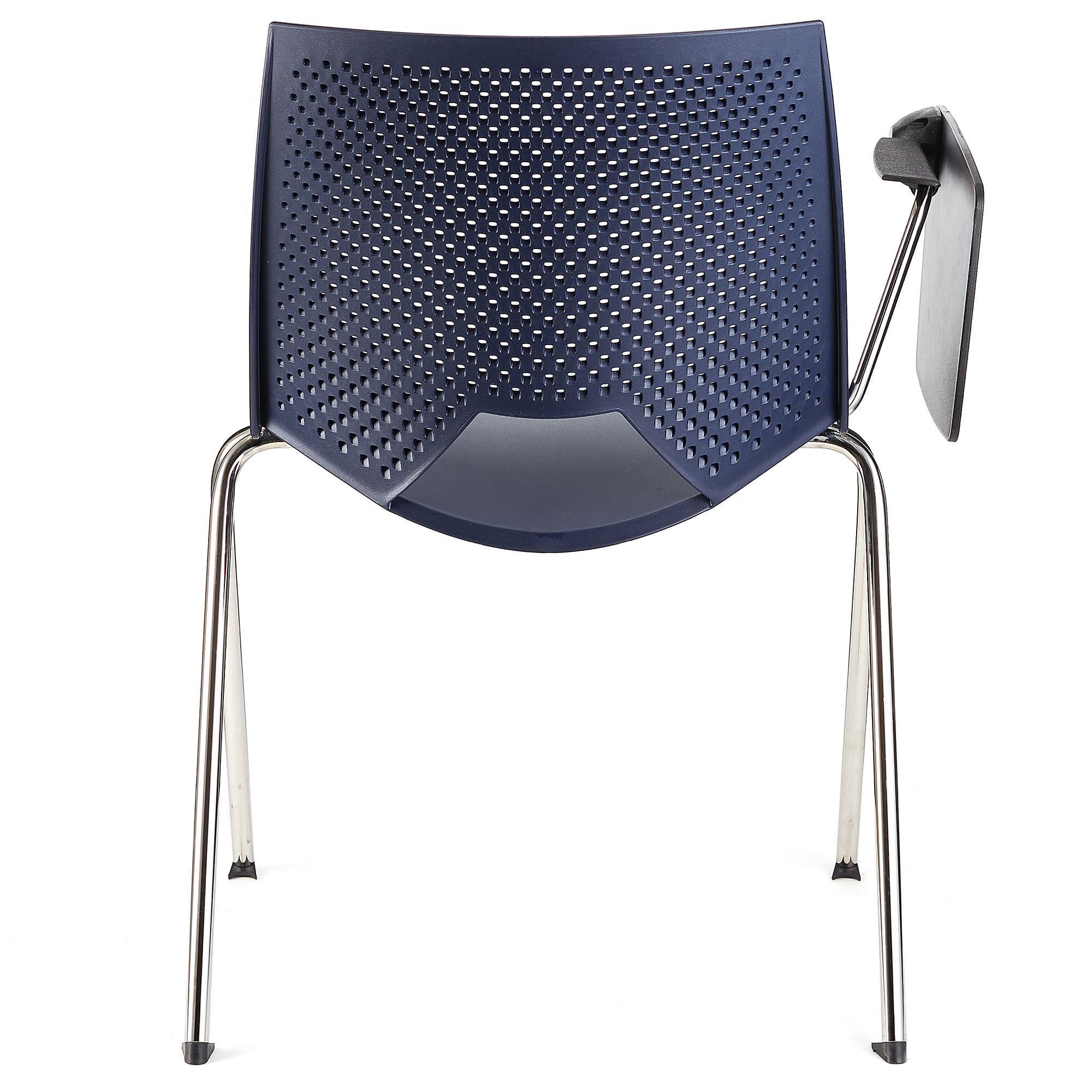 Sedia per sala d 39 attesa enzo con scrittoio colore blu for Sedia per sala d attesa