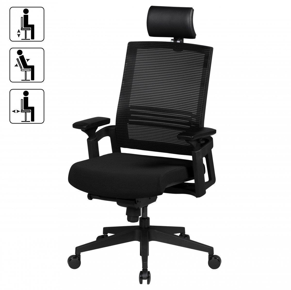 Sedia ergonomica siro pro regolabile con poggiatesta e for Sedia ergonomica