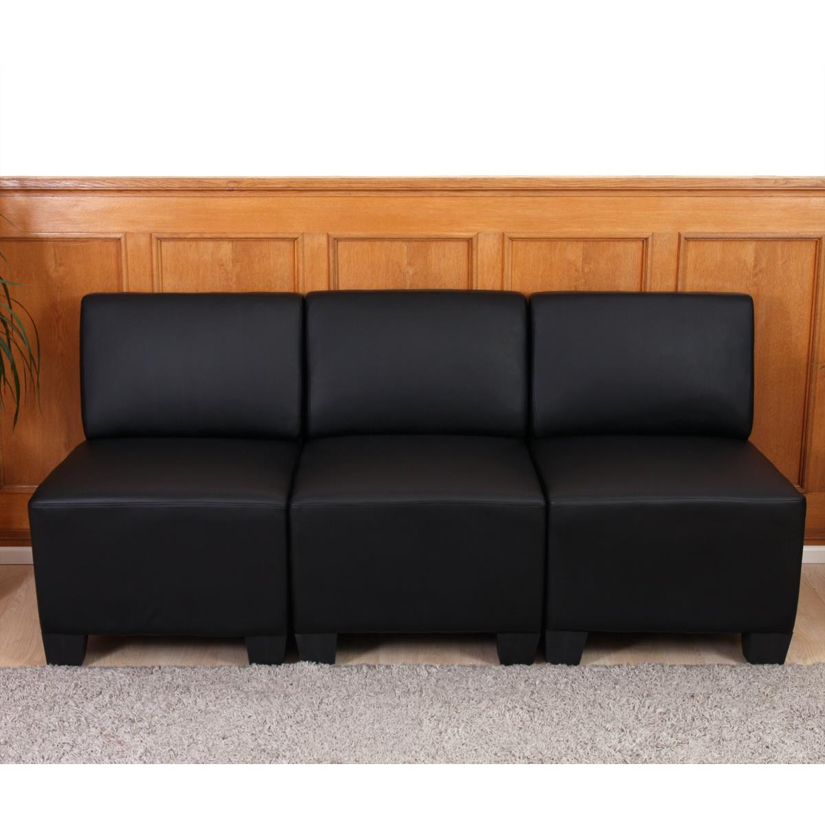 Divano modulare 3 posti lyon design moderno comodo in - Divano pelle nera ...