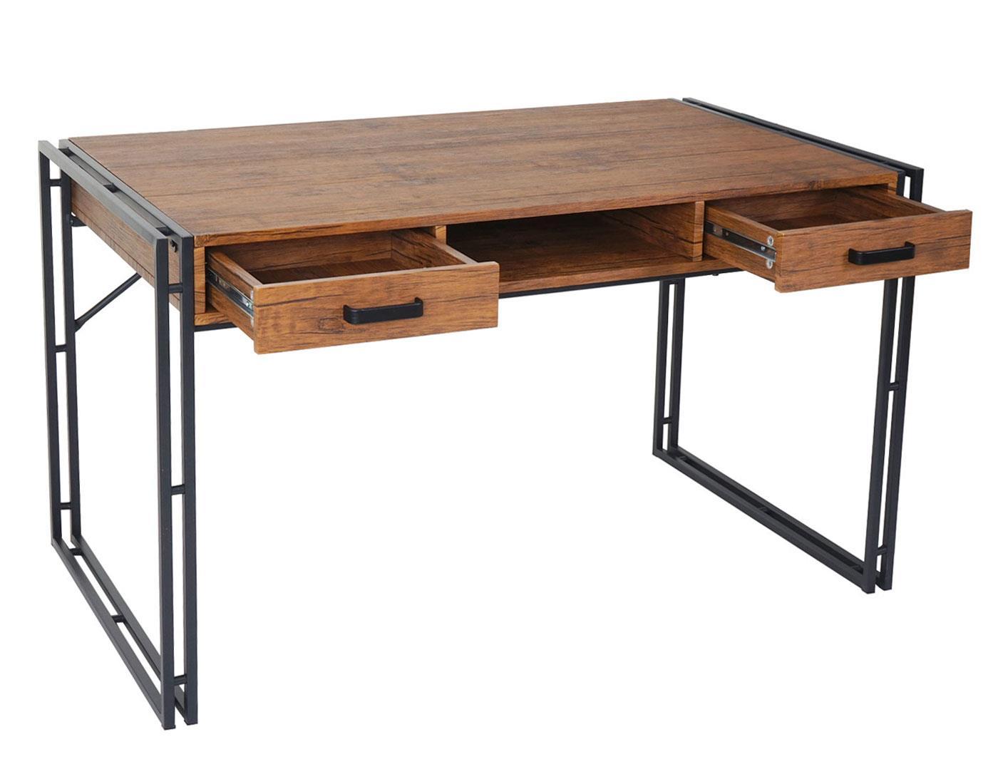 Scrivania per ufficio olaf cm 121x70 in legno e metallo for Scrivania legno