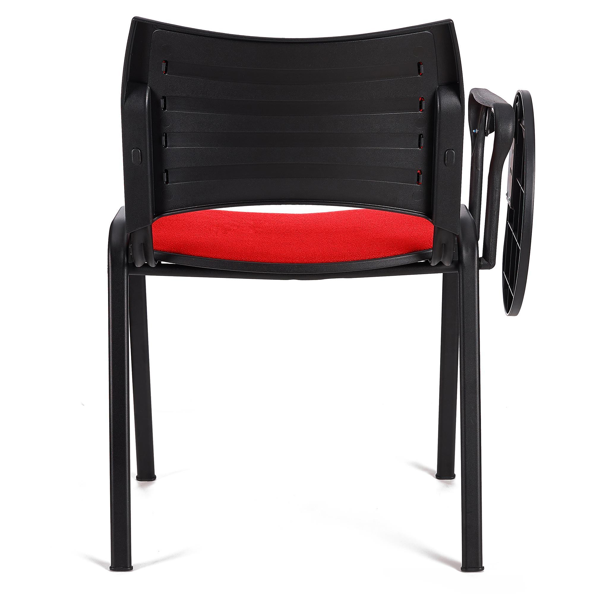 Sedia da Attesa ROMMEL CON SCRITTOIO, Comoda Imbottitura, Impilabile, in  Rosso e Gambe Nere