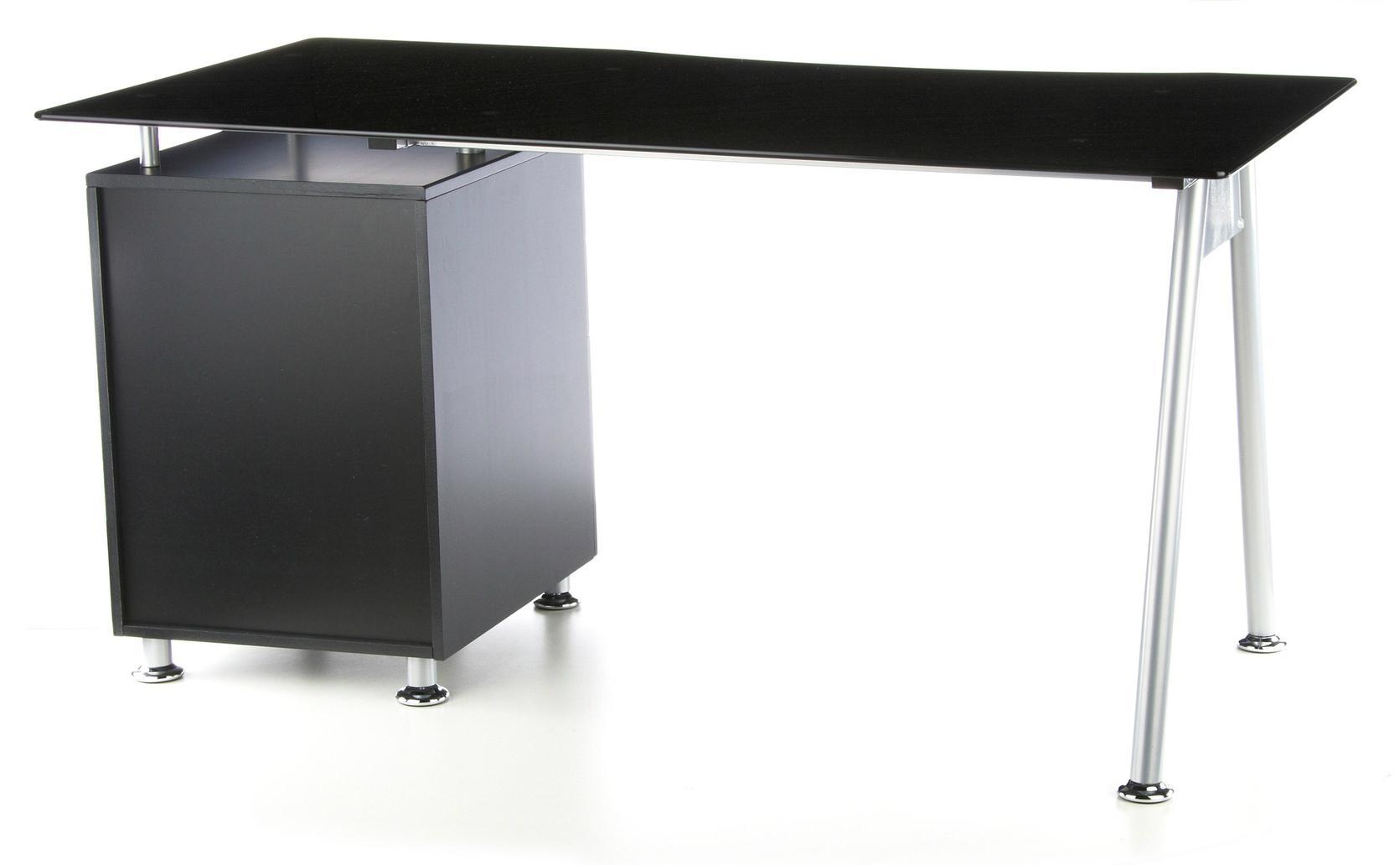 Scrivania per computer start up vetro temperato cassettiera con