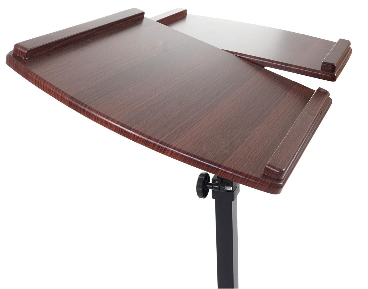 Leggio Da Poltrona.Tavolino Leggio Per Computer Portatile Stand Top Altezza Regolabile Con Ruote Ripiano In Legno Color Noce