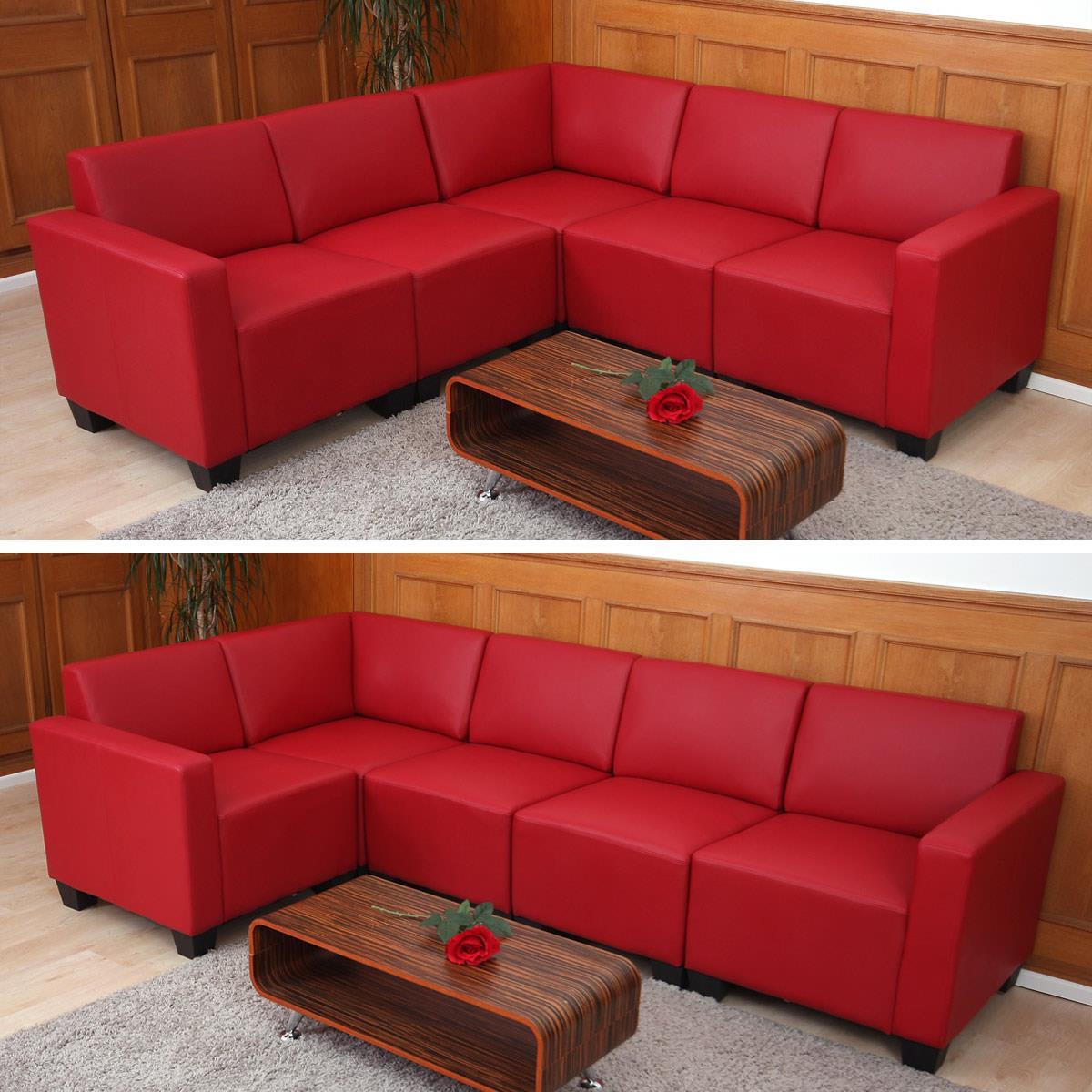 Set divani 3+1+1 modello LYON, Design e Comfort, in Pelle colore Rosso