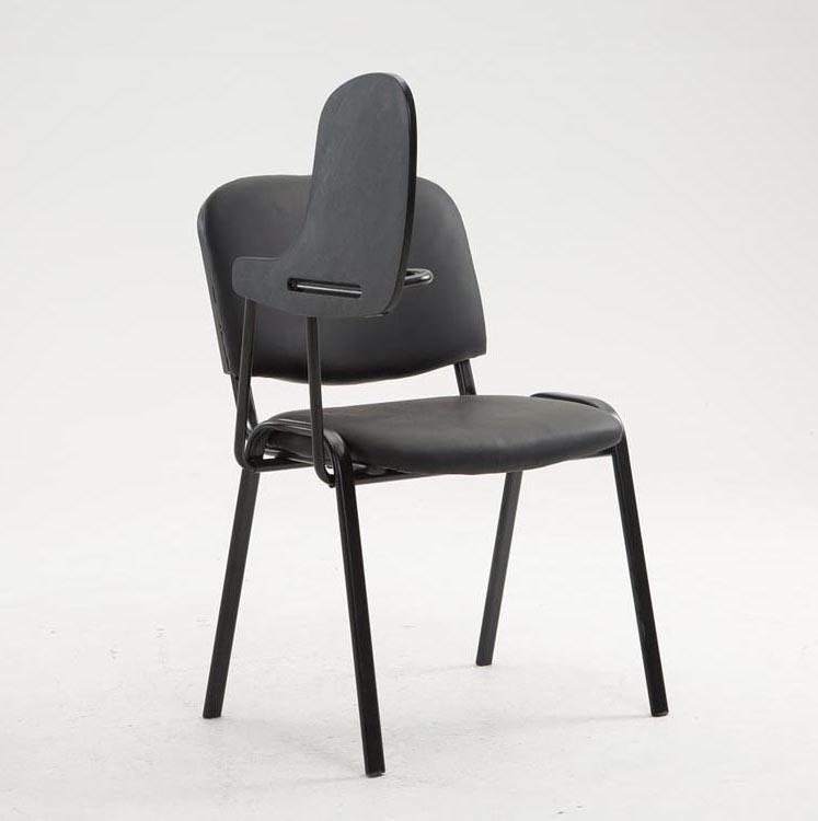 Sedia conferenze MOBY PELLE con SCRITTOIO, colore nero, gambe nere ...