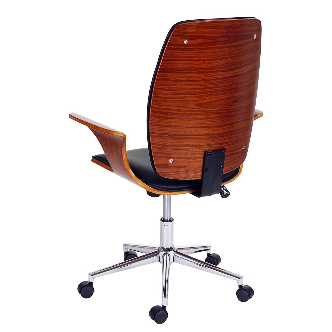 sedia da ufficio saturno design in legno e pelle color