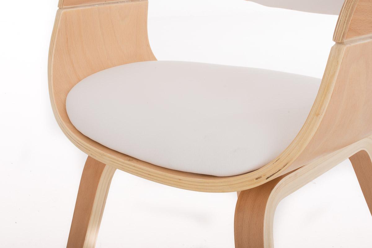 Sedia Design Faggio.Sedia Riunioni Butan Design Retro Legno Color Faggio Pelle Bianca