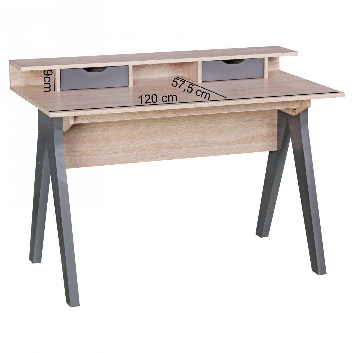 Scrivania per computer mila superficie in legno cm for Misure scrivania