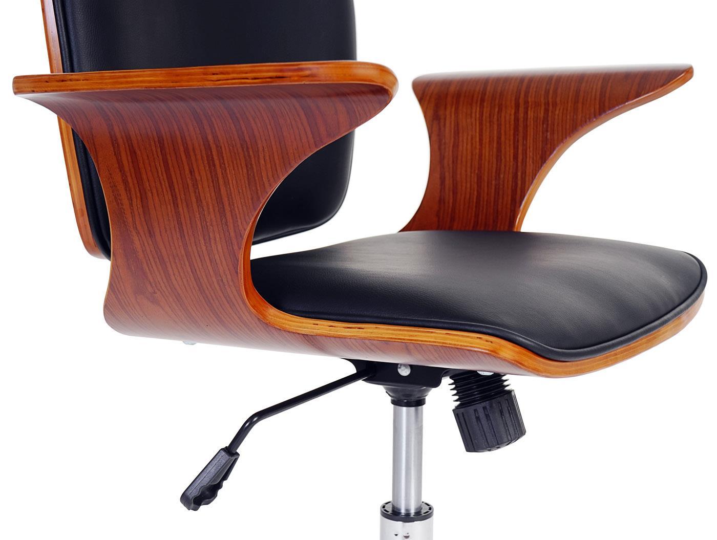 Sedia da ufficio saturno design in legno e pelle color for Ufficio design in legno