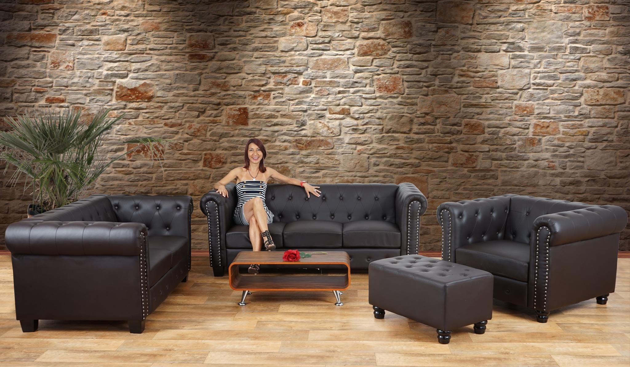 Ufficio Elegante Classico : Divano a 2 posti chester in pelle gambe quadrate nero divano a