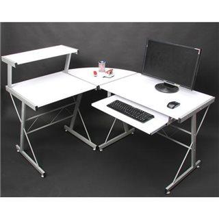 Scrivania per Computer EASY LINE in legno, spaziosa con ripiano tastiera, cm 140x115x72cm, color bianco