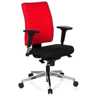 Sedia ergonomica PROFI, completamente regolabile, omologata 8h, base in acciaio, in rosso