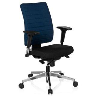 Sedia ergonomica PROFI, completamente regolabile, omologata 8h, base in acciaio, in blu