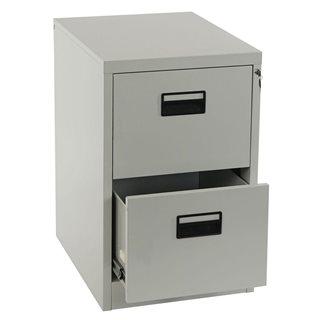 Cassettiera EDWIN 2 CASSETTI, grande spazio per archiviazione, in acciaio laminato, colore grigio