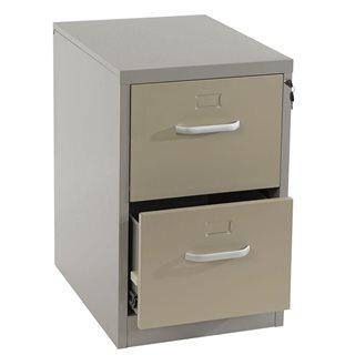 Cassettiera EDWIN 2 CASSETTI (Maniglie), grande spazio per archiviazione, in acciaio laminato, colore bei