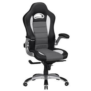 Sedia per PC modello NORRIS, design gaming, imbottita e rivestita in pelle, nero