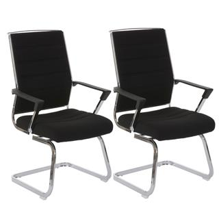 Lotto di 2 Sedie per Conferenza e Attesa CAEL, struttura in metallo e sedile girevole, imbottite, tessuto