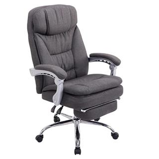Poltrona ufficio AUSTIN, reclinabile, resistente fino a 160kg, poggiapiedi, tessuto grigio scuro