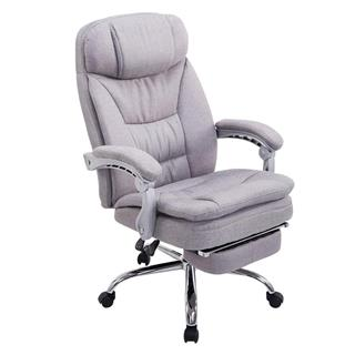 Poltrona ufficio AUSTIN, reclinabile, resistente fino a 160kg, poggiapiedi, tessuto grigio chiaro