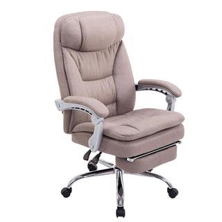 Poltrona ufficio AUSTIN, reclinabile, resistente fino a 160kg, poggiapiedi, tessuto grigio talpa