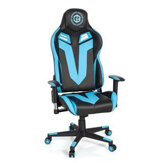 Sedia Gaming BRAKER, Design Accattivante, Pelle Nera e Azzurra