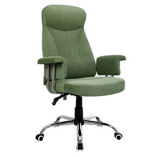 Sedia da Ufficio KIRA, Girevole, Schienale Ergonomico, in Tessuto effetto Velluto, color Verde