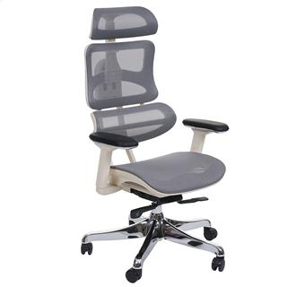 Sedia da ufficio Ergonomica MINERVA, Completamente Regolabile, ISO 9001, colore Grigio/Bianco