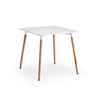 Tavolo per PC MISKE, 80x80cm, in Legno, Ripiano in Acciaio Bianco