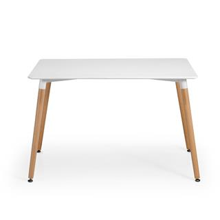Tavolo per PC MISKE, 120x80cm, in Legno, Ripiano in Acciaio Bianco