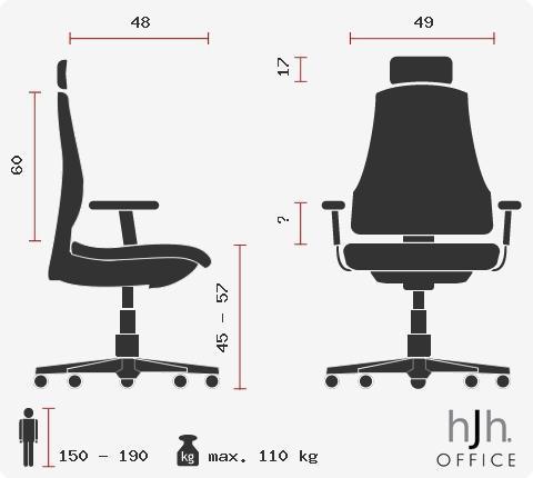 Sedia ufficio / Executive AIRPORT in Pelle e rete, 100% regolabile, colore Nero