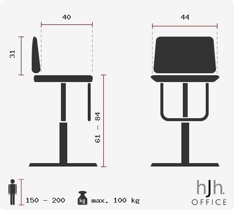 Lotto di 2 sgabelli di design LOUNGE, Seduta ampia e comoda, Vari colori, in Nero