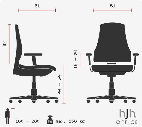 Poltrona XXL per ufficio modello SANTOS, Extra resistente - fino a 150kg, Omologata 8h al dì, Comodissima, in Blu