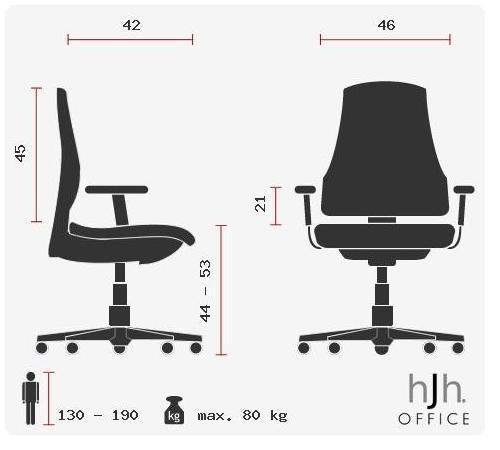 Sedia da ufficio CHARLES, in Tessuto di alta qualità, Base in alluminio, colore Grigio Scuro